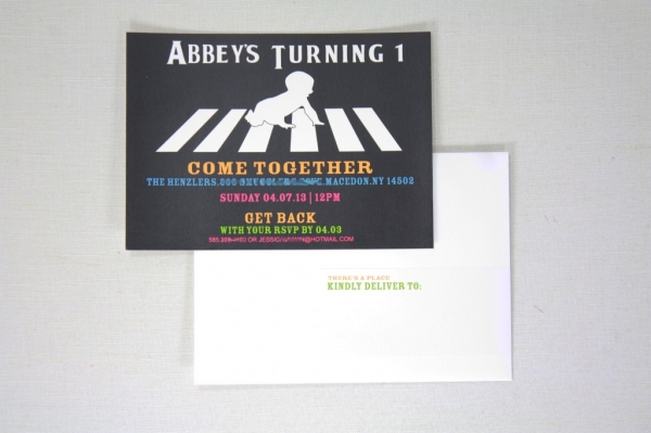 Abbey Road Beatles Theme Invitation – Beatles Party Invitations