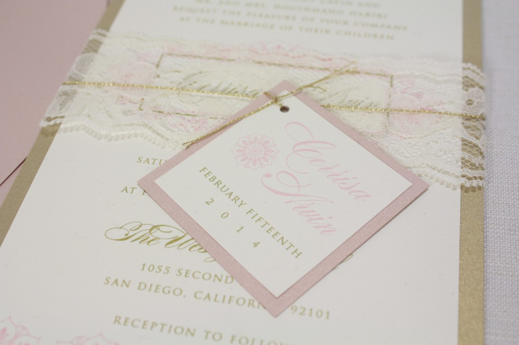 lace, blush invitations