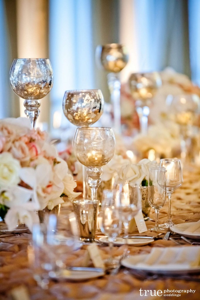 blush pink and gold table setting