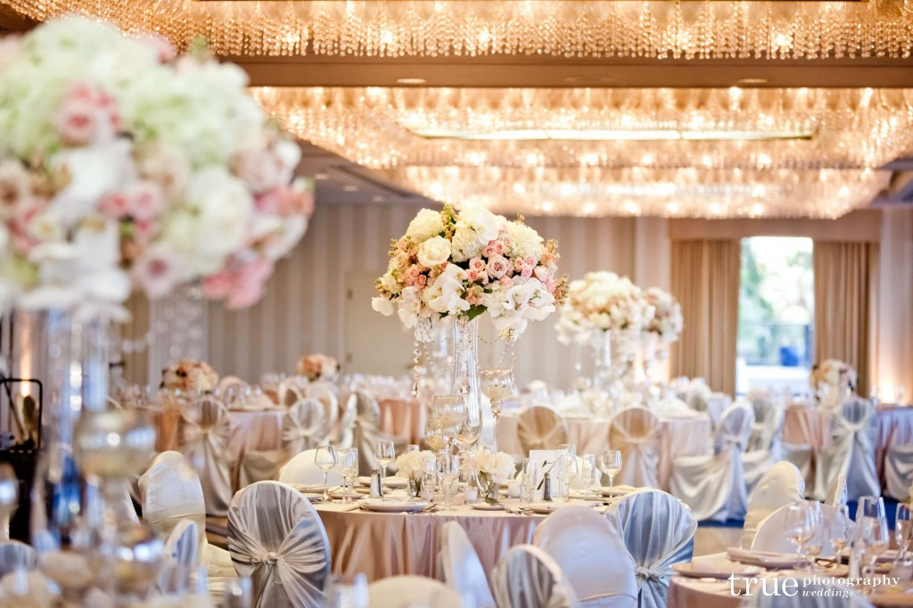 blush pink and gold ballroom