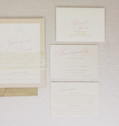 Blush pink and lace Invitations