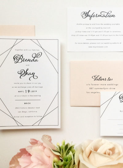 Modern Blush Wedding Invitations